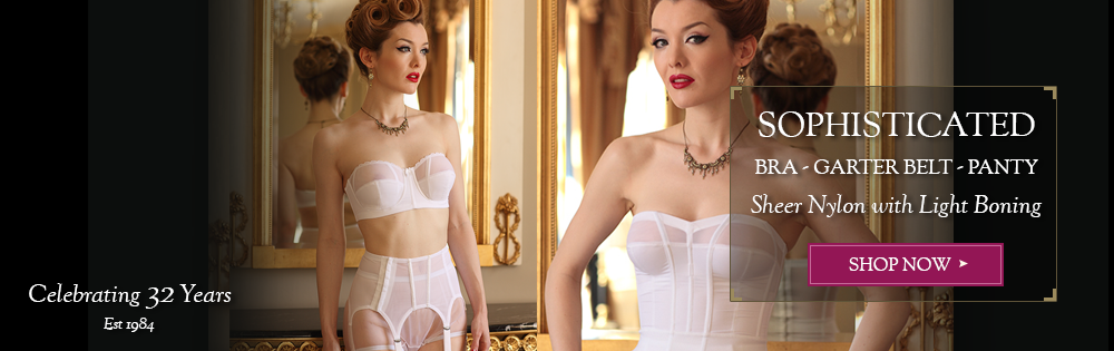 sophisticated retro chic strapless bra and gartergbelt